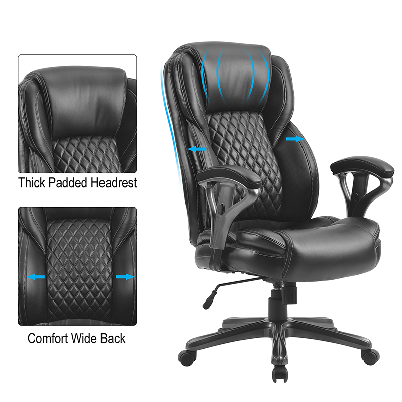 Buyonhome Home Office Big and Tall PU Leather Office Chair Black