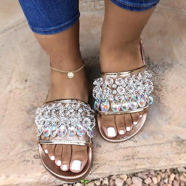 Zoeyootd Woman's Crystal Beach Sandals