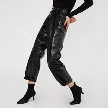 Punk Style high street vintage trend high waist Pu leather long women pants fall clothes-carrot trousers 2.11