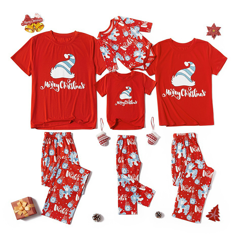 HERIN Red&Blue Hat Family Matching Pajamas Sets