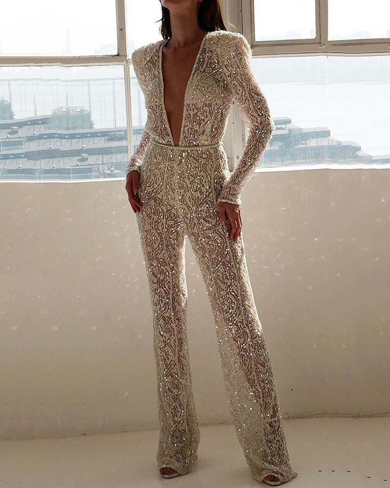Embroidered Lace Glitter Perspective Deep V Jumpsuit