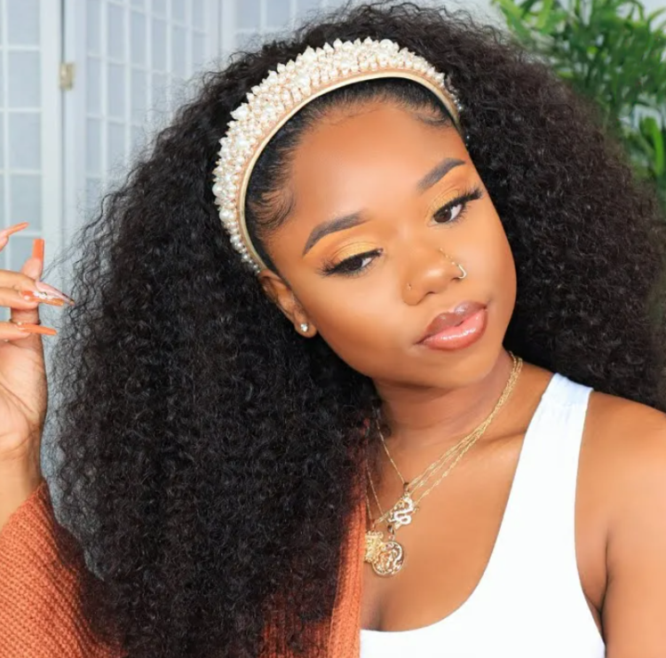 Curly Human Hair Headband Wig(Free Headband)