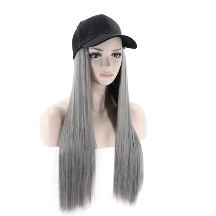 Synthetic Long Straight Baseball Cap with Hair Women Wig Hats with Hair straight Extensions (gray)