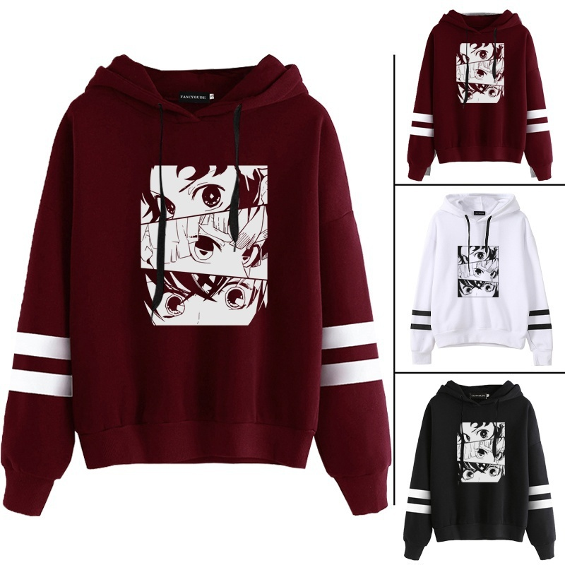 New Fashion Women Funny Cool Demon Slayer Japanese Anime Printed Hoodies Demon Slayer Striped Hooded Sweatshirt Pullover Tops New