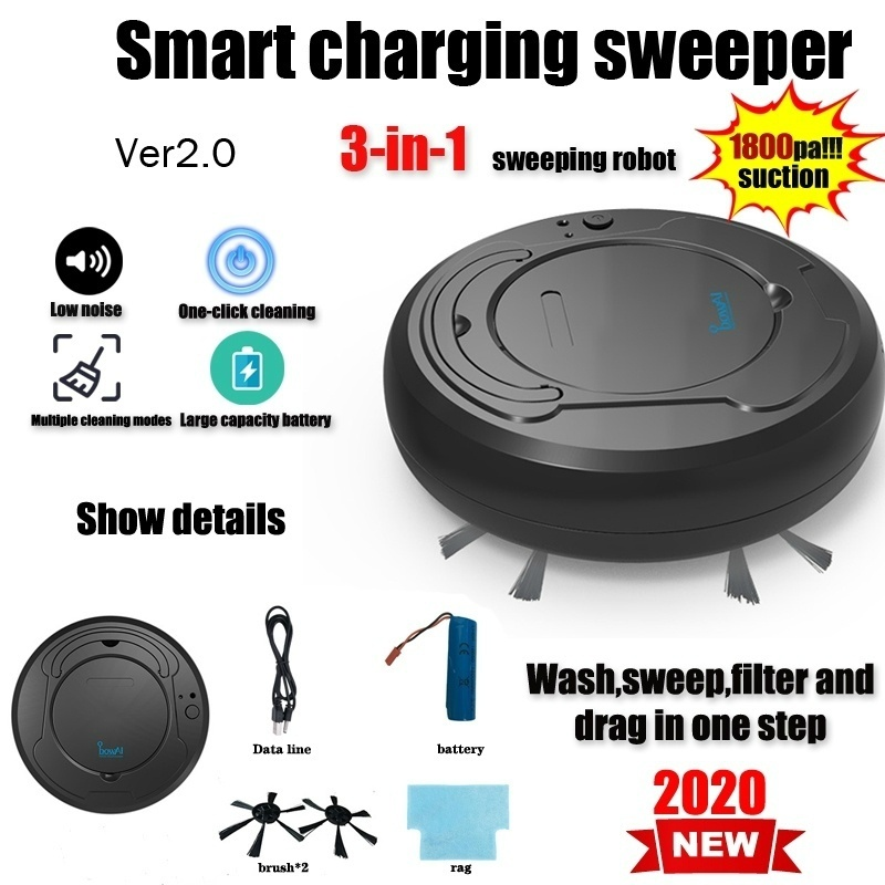 2020 New 3-in-1 High suction automatic sweeping machine Household vacuum cleaner Intelligent vacuum cleaner