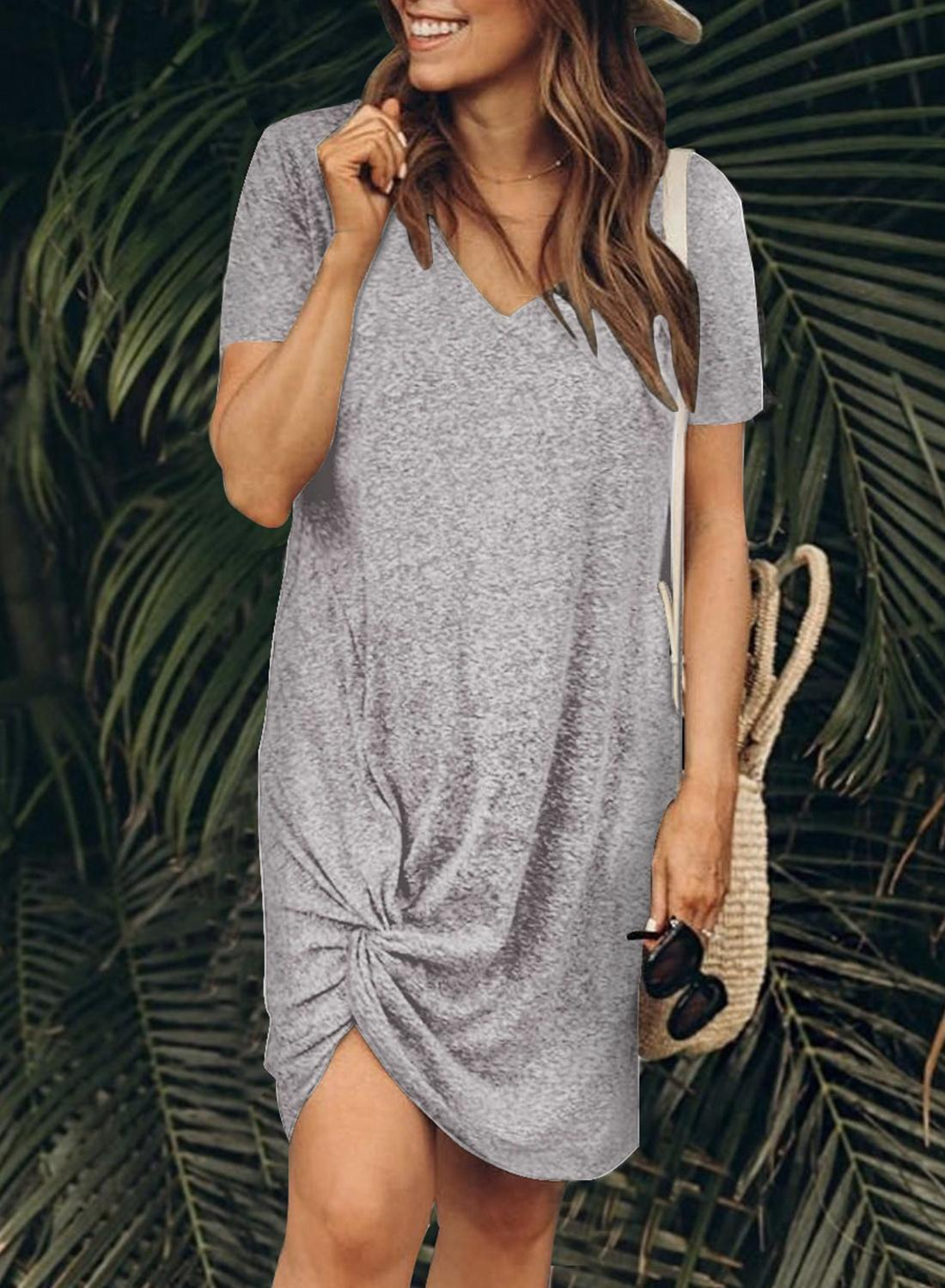 Women Clothing Designers The Best Gray The Triblend Side Knot Dress