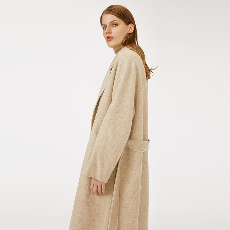 high quality factory customized casual oversized notched colar woolen woman light khaki winter coat with belt-Casual Outwear 2.11