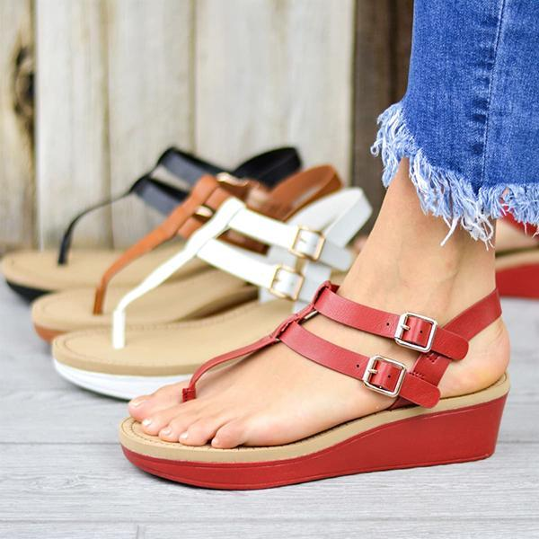 Zoeyootd Adjustable Buckle T-Strap Wedge Sandals