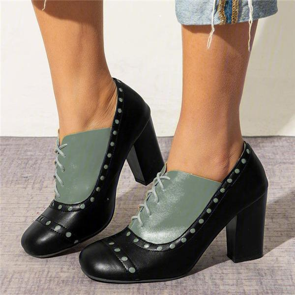 Bonnieshoes New Oxfords Vintage Chunky Heel Lace Up Heels