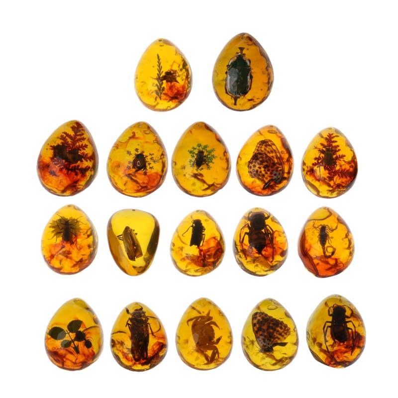 Animals Amber Butterfly Insects Stone Pendant Necklace Gemstone for DIY Jewelry XFV