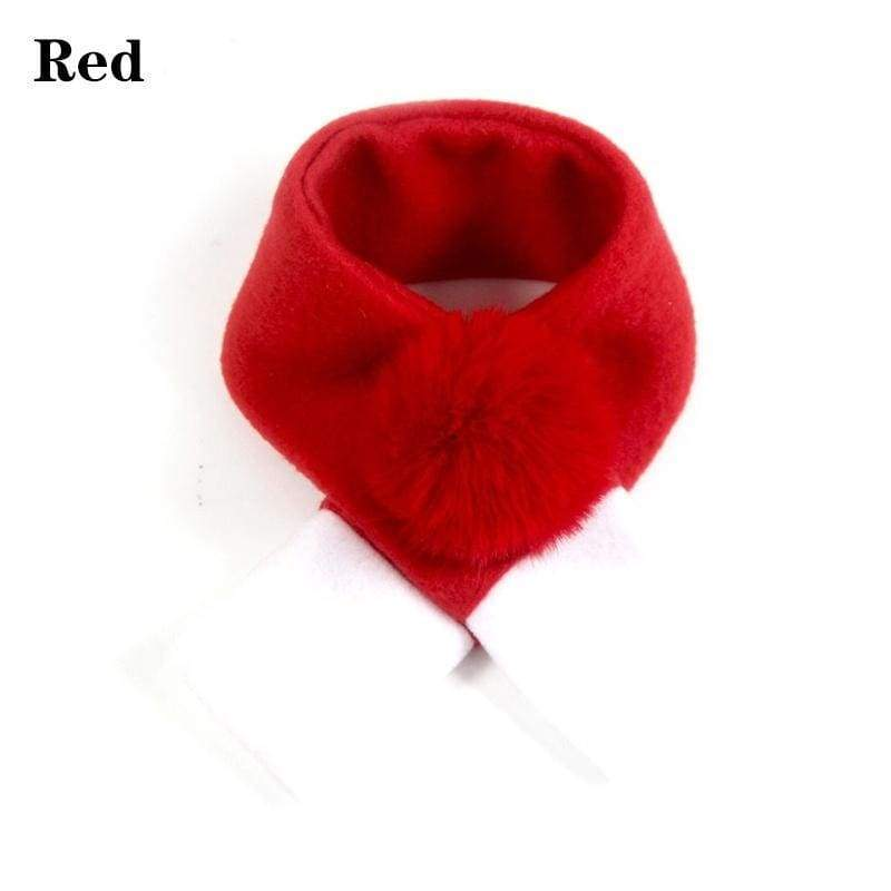 1pc Home Christmas Decorations Bib Collar Red Cat Accessories Pet Scarf Warm Cute Hairball Xmas