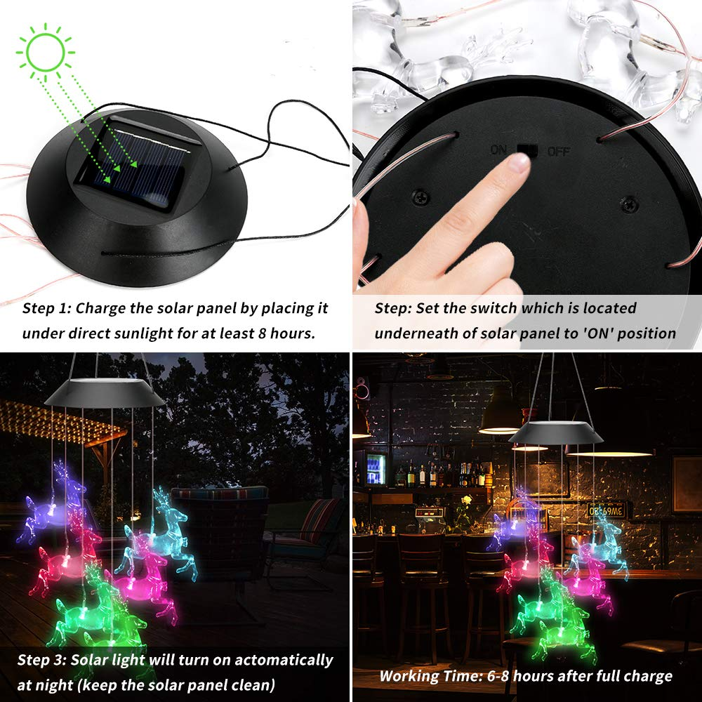 Color Changing Solar Deer Wind Chime Light(Buy 2 Free Shipping)