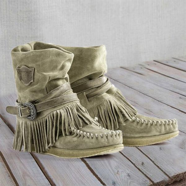 Zoeyootd Women's Casual Flat Suede Fringe Round Toe Retro Boots