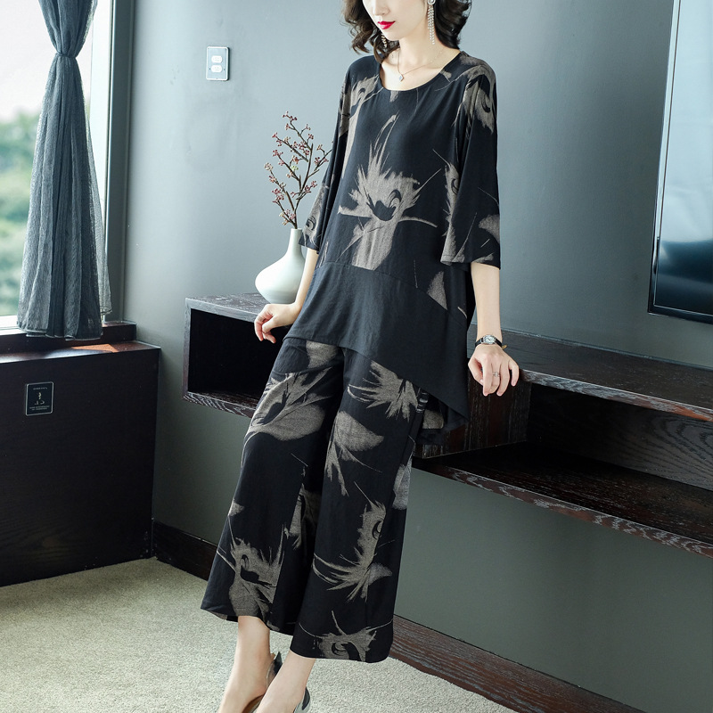 Cotton, Polyester Three Quarter Length Sleeve Round Neck Floral With Suit(Plus Size)