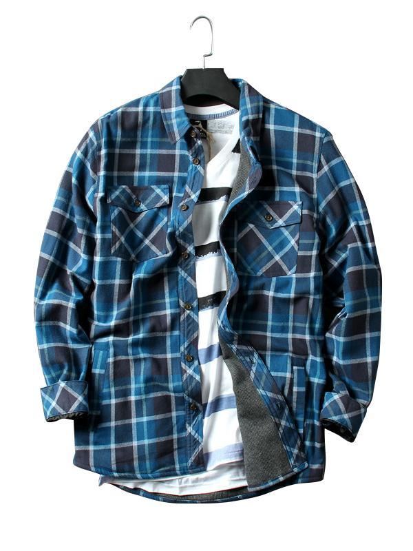 Long Sleeves Lapel Plaid Casual Retro Shirt