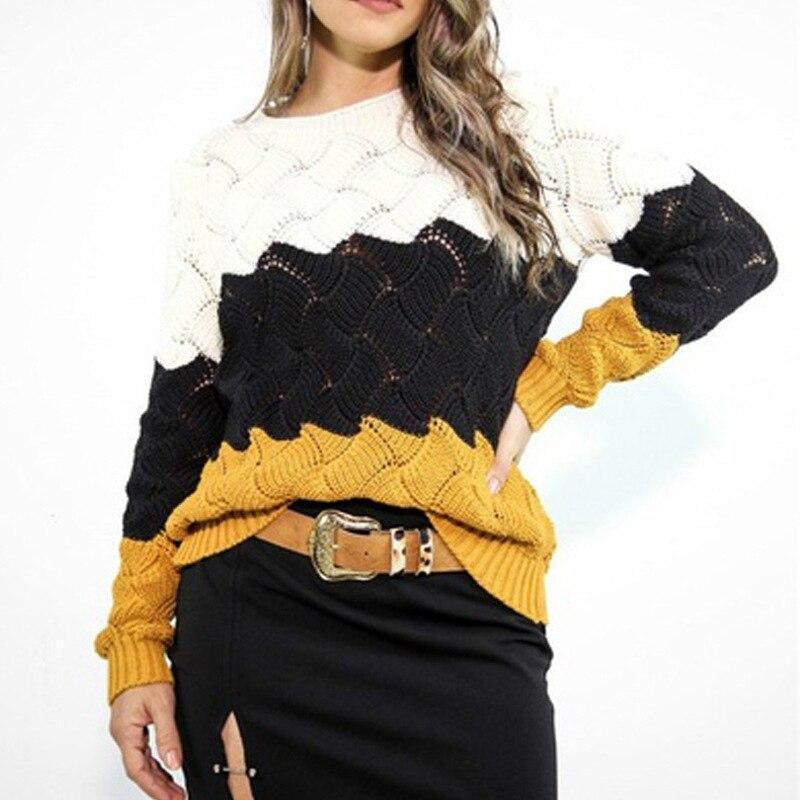 Women's color striped knitted sweater crewneck pullover sweater