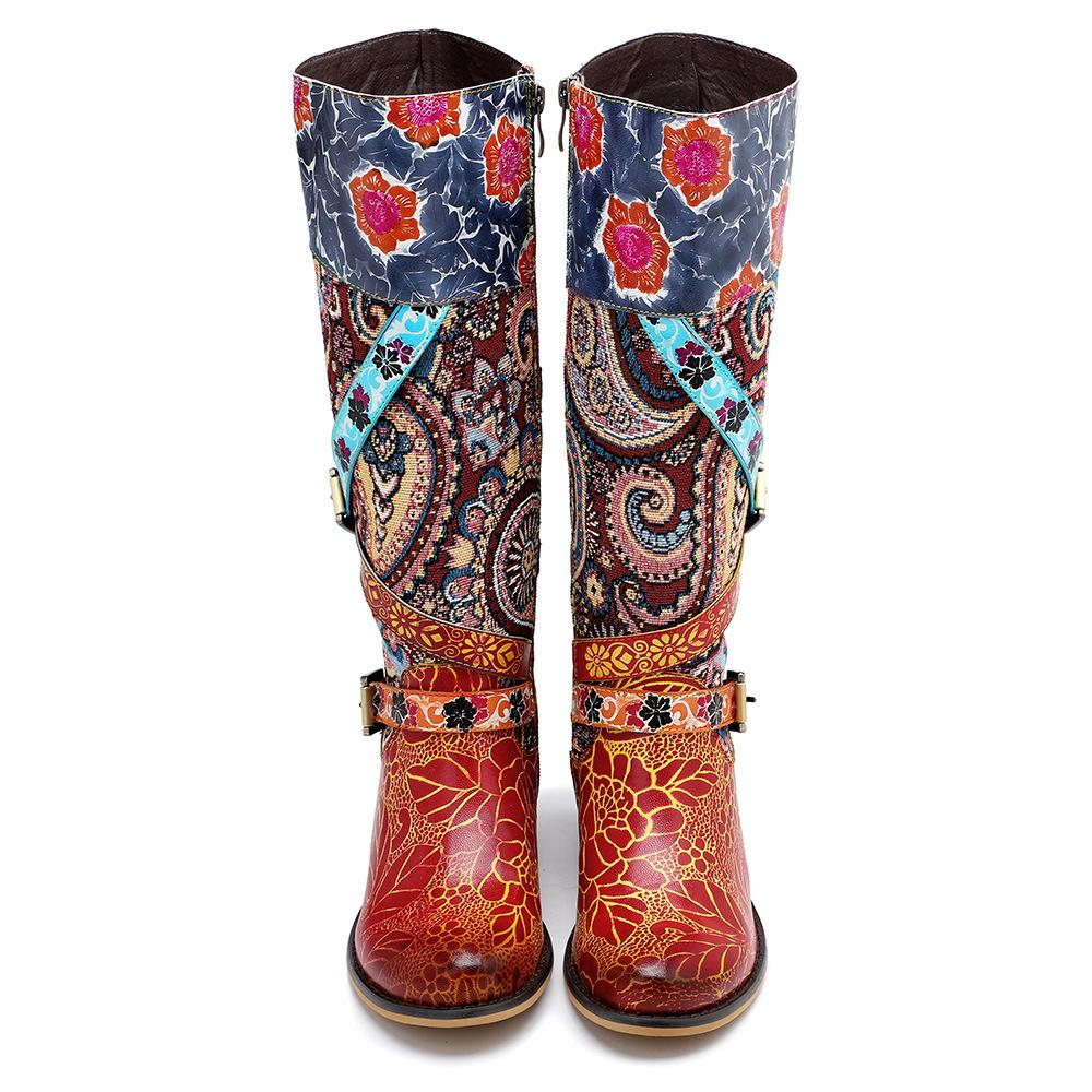 【🚢FREE SHIPPING🚢】Bohemian Retro Patchwork Genuine Leather Boots