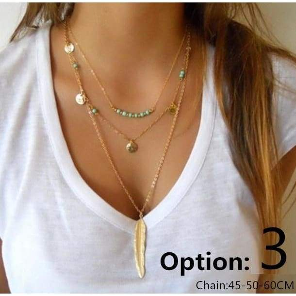 New Gold&Silver Color Chain beads Leaves Choker Necklace Multi-layer Jewelry for women MengPa