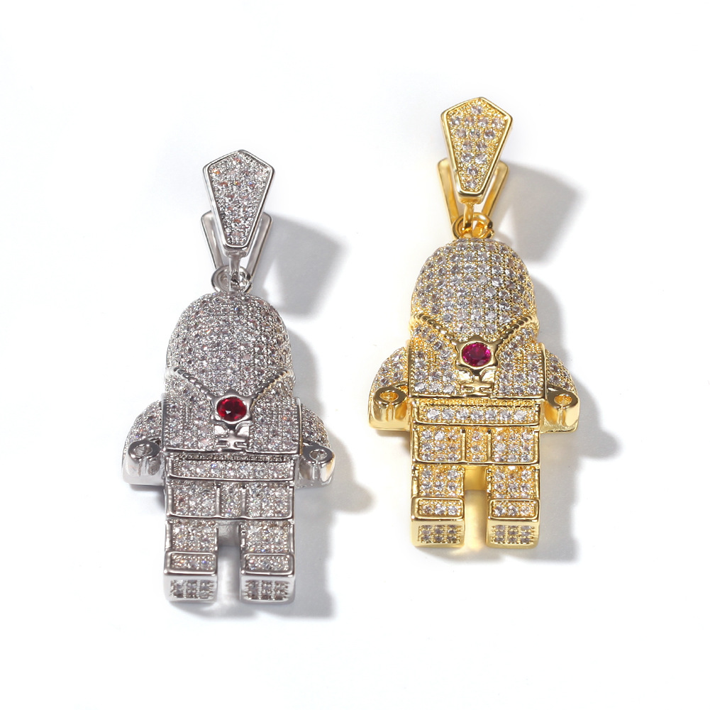 Astronaut gold-plated diamond necklace
