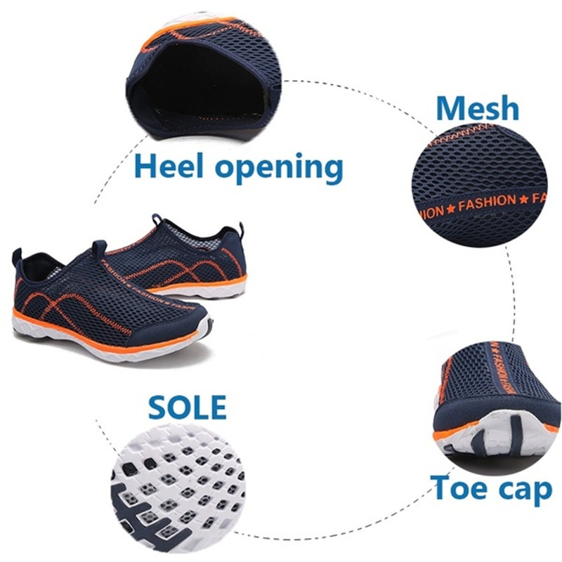 Men Fashion Mesh Quick-dry High Quality Rubber Sole Slip on Water Shoes WATER Swim Surf Outdoor Casual Shoes Large Size