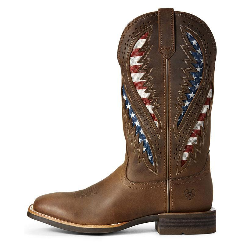 Men's Flag Western Boots Wide Square Toe