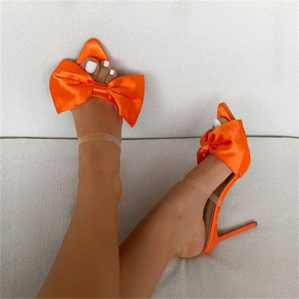 Bonnieshoes Satin Bow Stiletto Heels