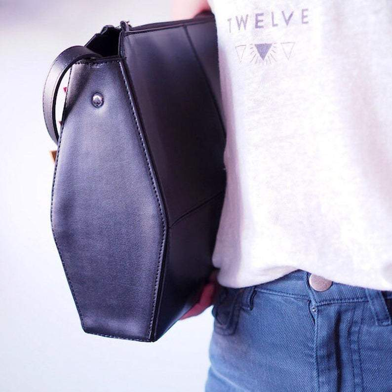 Black Shoulder Bag, Vegan Leather Bag with Keychain, Minimalist Crossbody Bag, Faux leather, Gifts for her, Geometric Bag, Structured Bag        Update your settings