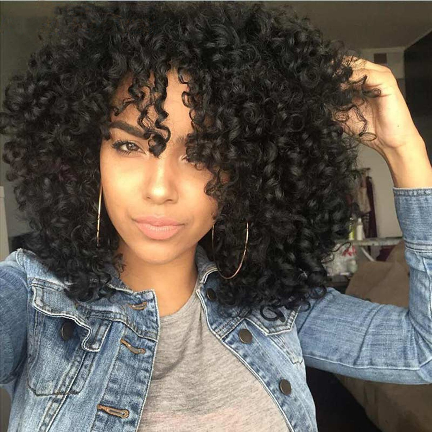 Luna 021 Short Kinky Curly African American Wigs with Bangs