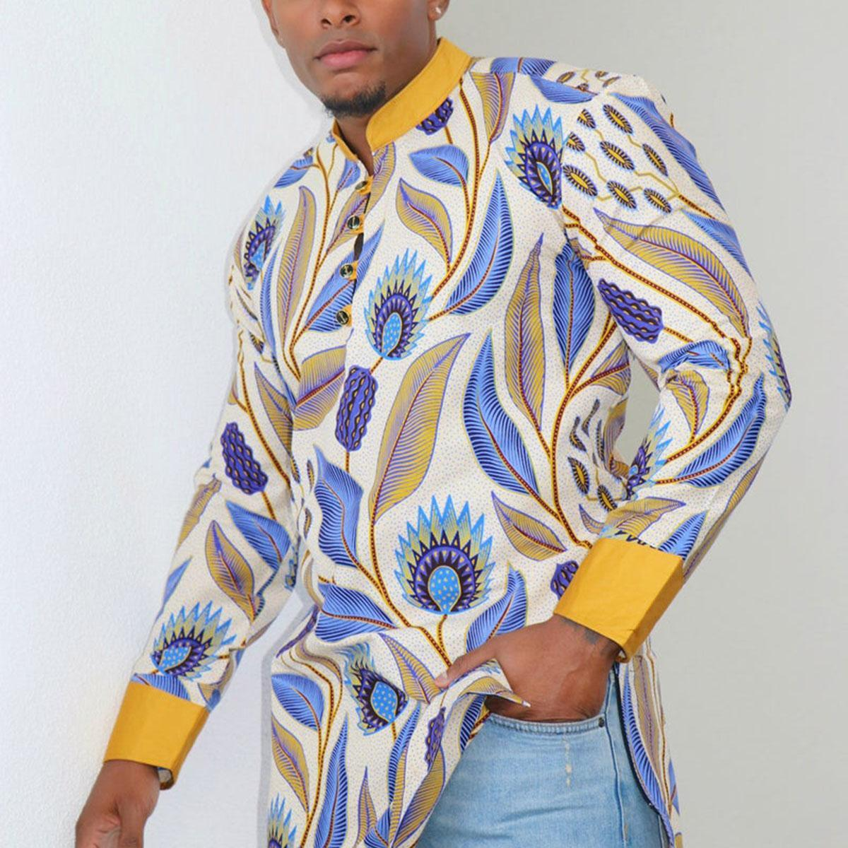 Vintage Cotton,Polyester Long Sleeve Stand Collar Floral All Over Print with Shirt(Plus Size)