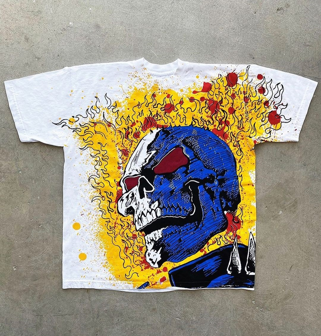Skull Statement Polyester Short Sleeve Round Neck Floral With T Shirt(Plus Size)
