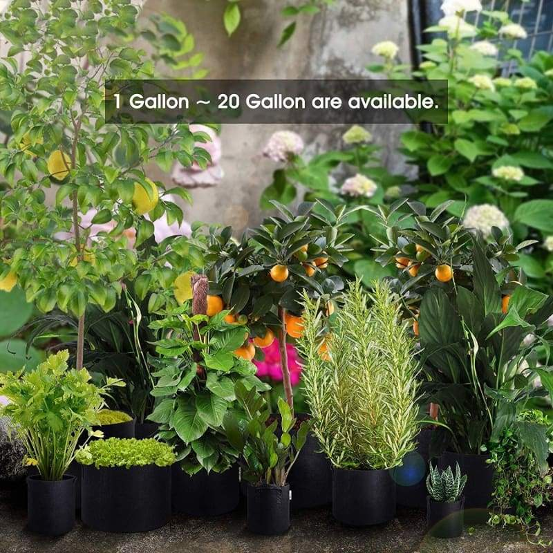 Vegetable/Flower/Plant Grow Bags, Heavy Duty Thickened Non-Woven Aeration Fabric Pots Container with Reinforced Handles