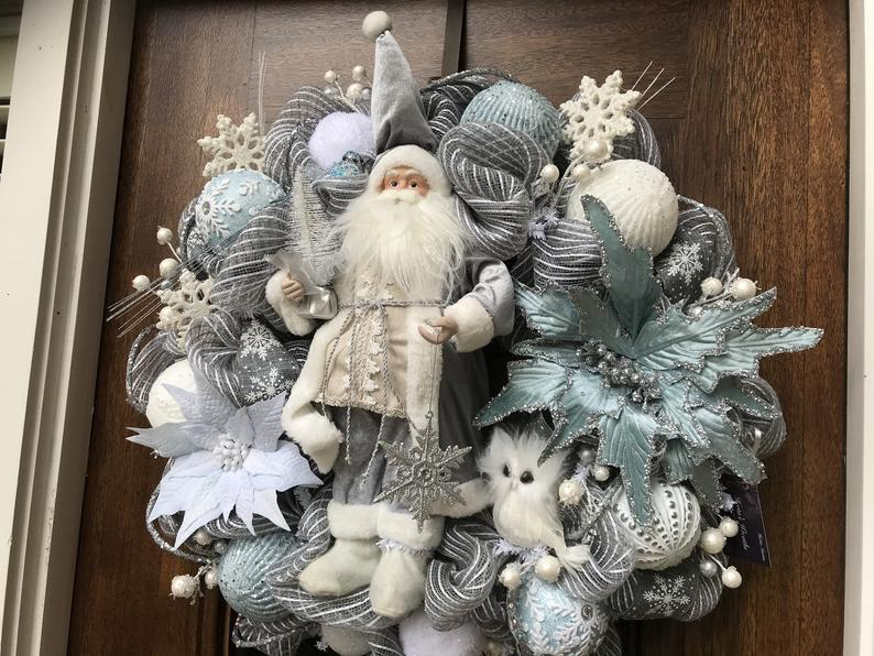 Large Santa Wreath With Grey And Light Blue