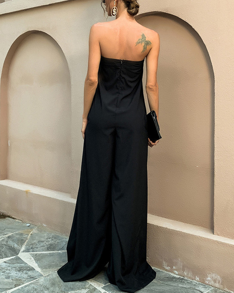 Solid Color Loose Off-the-shoulder Casual Jumpsuit
