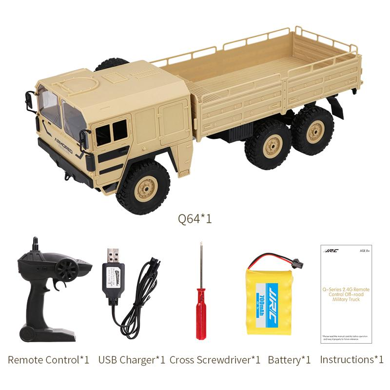 JJR/C Q64 1: 16 RC Off-Road Military Truck with Head Lights 500G Load 2.4G 6WD RC Car