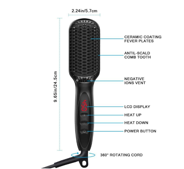 Ceramic Beard & Hair Straightener for Men & Women