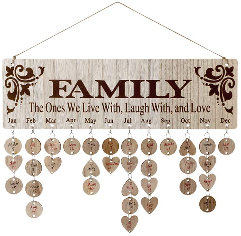 Gifts for Moms Dads - Wooden Family Birthday Reminder Calendar Board