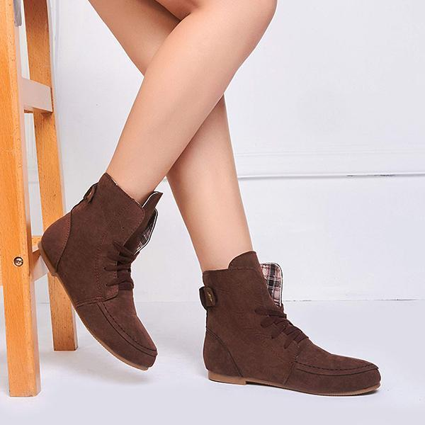 Upawear Comfortable Lace Up Flat Autumn Boots