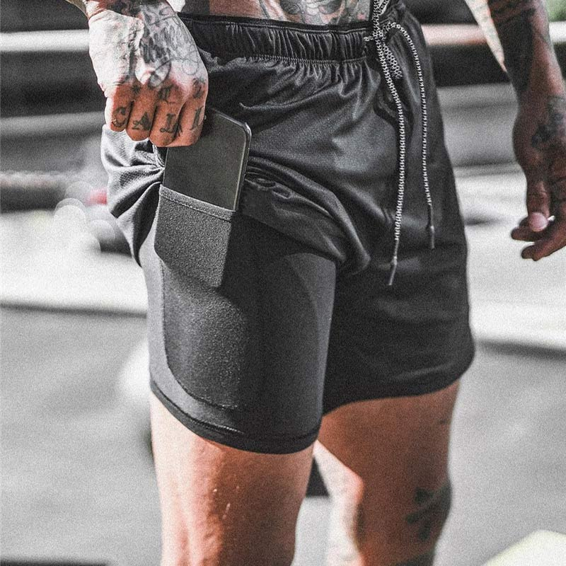 Quick Drying 2 in 1 Sports Shorts Male Double-deck | Free Shipping on 2