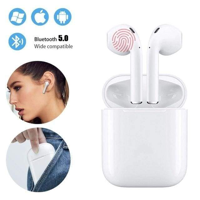 Mini I12 TWS Bluetooth 5.0 Earphone Wireless Smart Touch Control Earbuds Headset Headphone with HIFI Sound Quality Built-in Mic