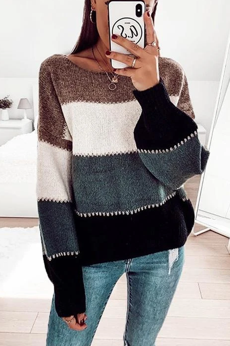 Striped Long Sleeve Knitted Sweater