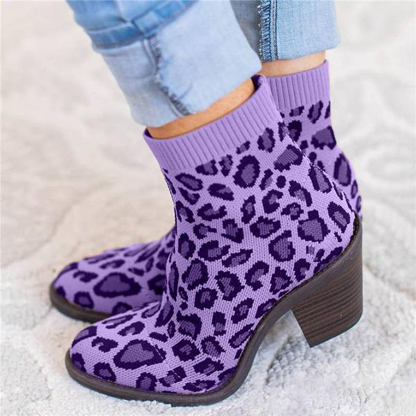 Bonnieshoes Color Leopard Daily Fabric Boots