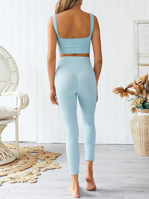 Twinklemoda Solid High Wiast Yoga Set