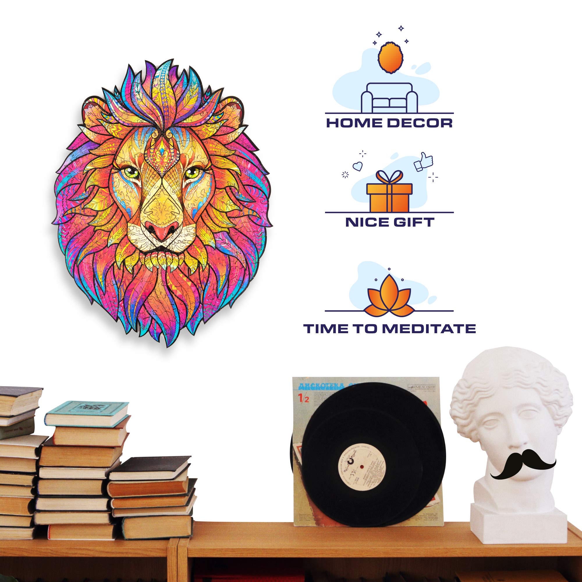 Lion Fox Dog Cat Wooden Puzzle Best Gift for Adults and Kids