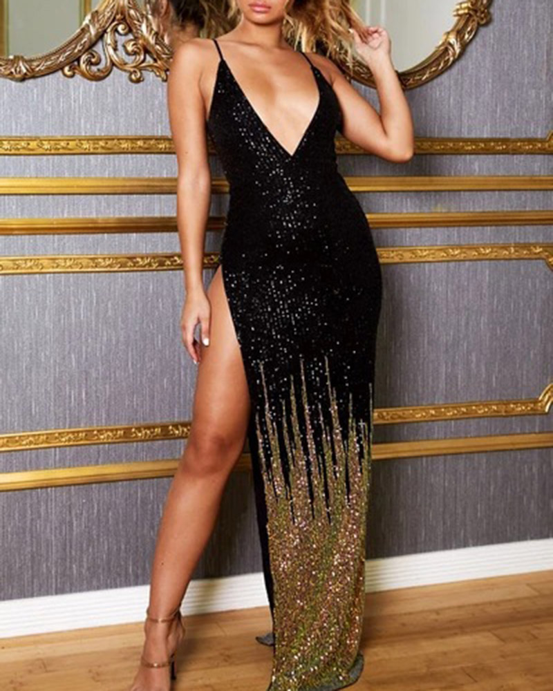 Sexy Sequined Vent Suspender Evening Dress