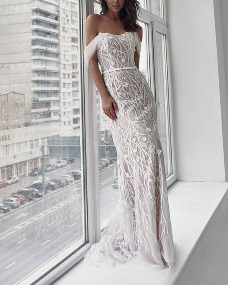 Strapless Backless Lace Dress