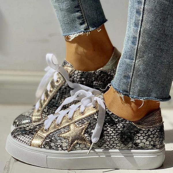 Mokoshoes Lace-Up Star Pattern Casual Sneakers