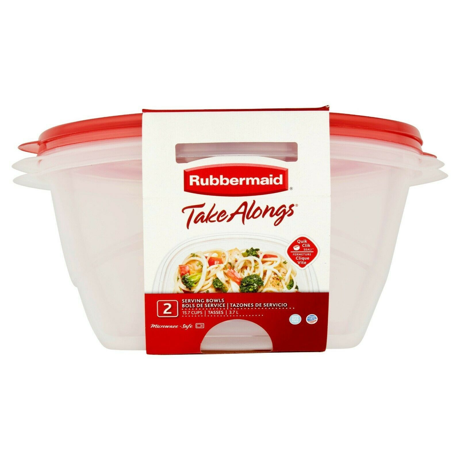 Rubbermaid TakeAlongs 15.7 Cups Food Storage 2 Bowls W Lids Quik Clik Seal NEW