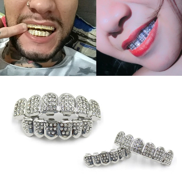 1Set Hip Hop Gold Silver Iced Out CZ Teeth Grillz Top Bottom Bling Men Women Jewelry New Arrival