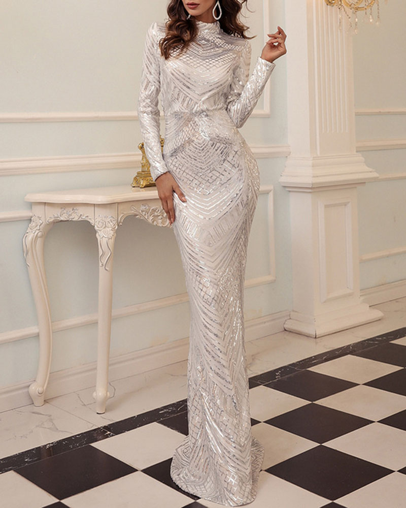 Sequined Long-Sleeved Fish Tail Evening Dress