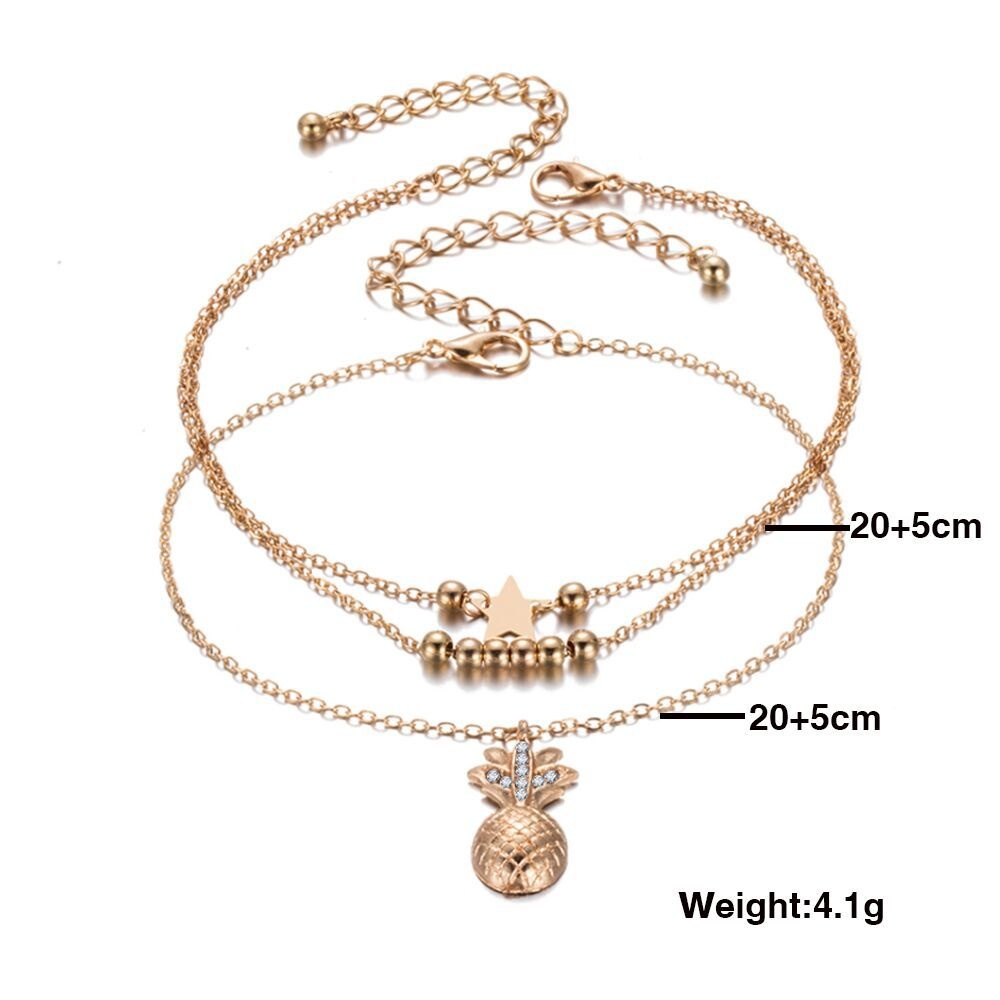 Simple Star Bead Chain Beach Micro Diamond Diamond Pineapple Anklet